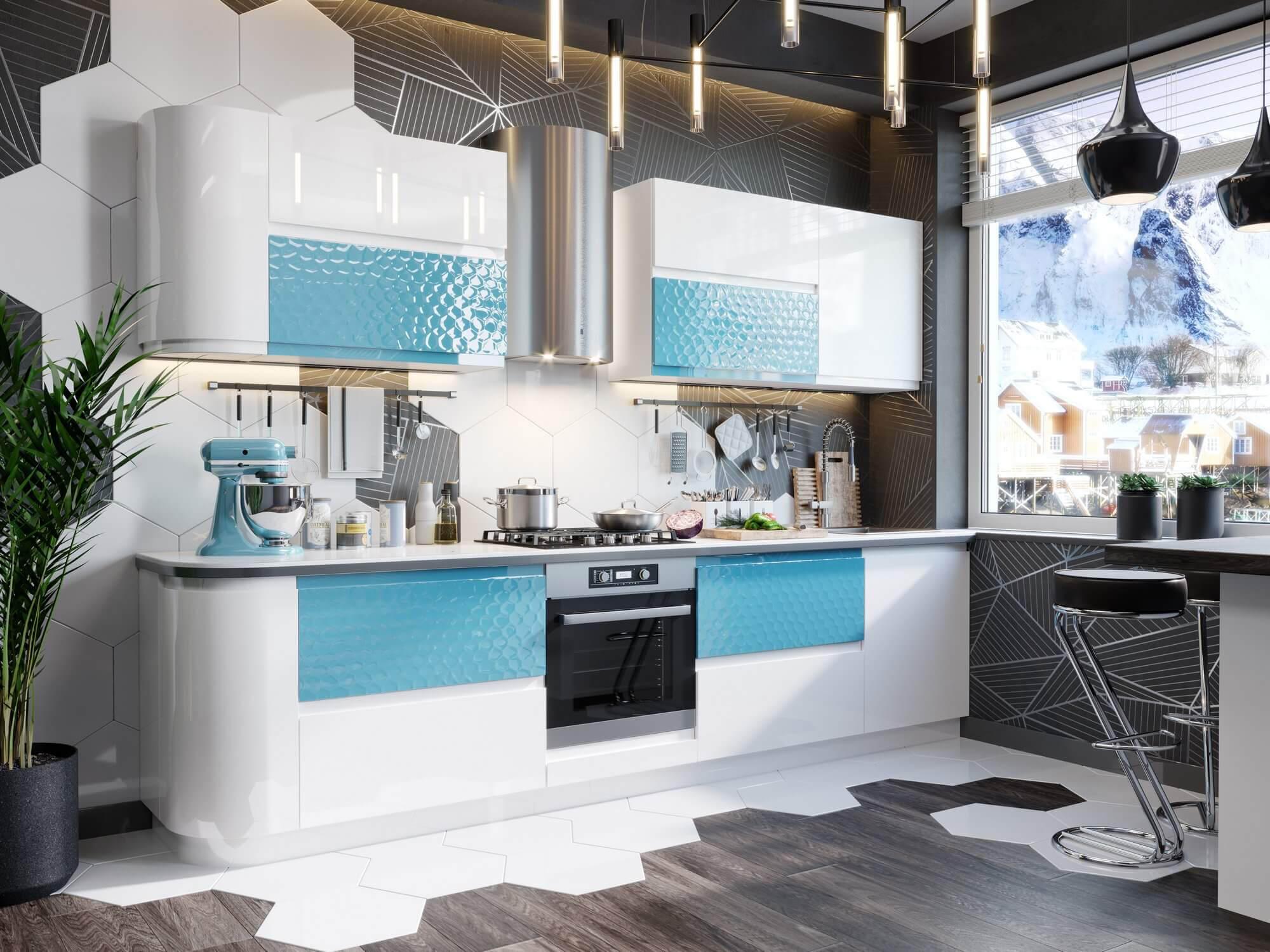 Модульная кухня Айсберри Аквайт (Белый/Белый глянец) купить в Кемерово в интернет-магазине Любимый дом